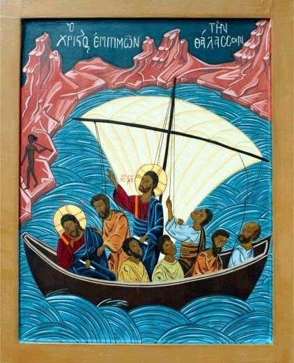 Jesus and disciples in boat dans immagini sacre jesus-calms-the-storm