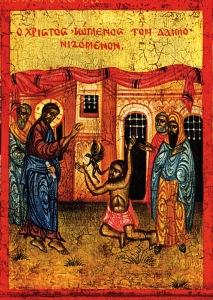 Jesus Casting out demon